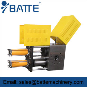 Double-piston continuous screen changer